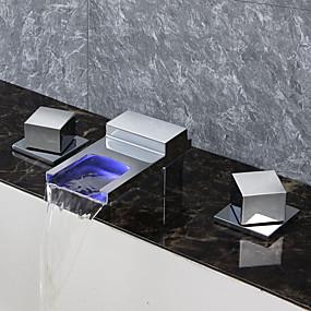 povoljno LED Series-Kupaonica Sudoper pipa - Waterfall / Tuš s kišnim mlazom / Termostatički Chrome Munkalapra szerelhető Three Holes / Dvije ručke tri rupeBath Taps