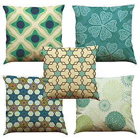 cheap Clearance-5 pcs Linen Natural / Organic Pillow Cover Pillow Case, Solid Colored Floral Plaid Casual Retro Traditional / Classic