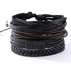 cheap 2019 Best Father's Day Sales-4 PCS Men's Wrap Bracelet Leather Bracelet Rope Vintage Punk Leather Bracelet Jewelry Black For Anniversary Gift Sports Valentine