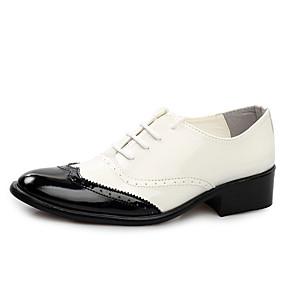 voordelige Wijdere maten schoenen-Heren Formele Schoenen Lakleer Lente / Zomer Brits Oxfords Wandelen Zwart / Geel / Rood / Bruiloft / Feesten & Uitgaan / Veters / Feesten & Uitgaan / Jurk schoenen