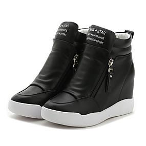 voordelige Damessneakers-Dames Sneakers Sleehak Ronde Teen Rits Microvezel Zachte zool Wandelen Lente / Zomer Wit / Zwart / EU39