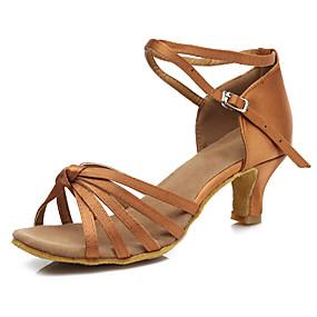 d245c5c04 Mulheres Cetim Sapatos de Dança Latina Presilha Sandália / Salto Salto  Cubano Personalizável Leopardo / Castanho Escuro / Vermelho-Preto /  Espetáculo
