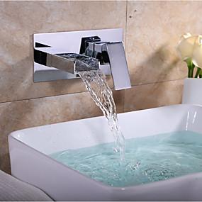 billige Ugentlige tilbud-Baderom Sink Tappekran - Foss Krom Vægmonteret To Huller / Enkelt håndtak To HullerBath Taps / Messing