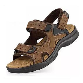povoljno Muške sandale-Muškarci PU Ljeto Udobne cipele Sandale Hodanje Crn / Bijela / Braon