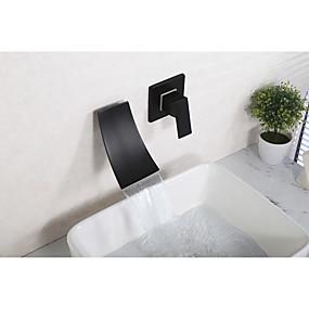 billige Ugentlige tilbud-Baderom Sink Tappekran - Foss Svart Udspredt Enkelt håndtak To HullerBath Taps / Messing