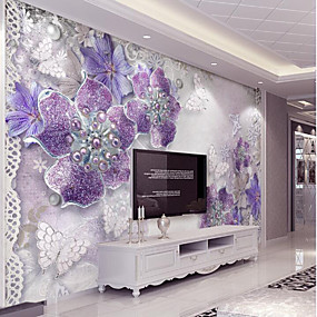 cheap 50% OFF-Purple Flash Silver Diamond Flower Custom 3D Large Wall Cover Mural Wallpaper Fit Coffee Room Bedroom Kitchen Art Flowe