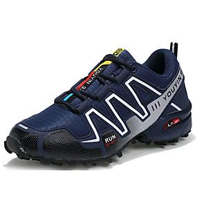 baratos Sapatos Esportivos Masculinos-Homens Tule / Couro Ecológico Primavera / Outono Conforto Tênis Corrida Azul Escuro / Cinzento / Preto / Vermelho