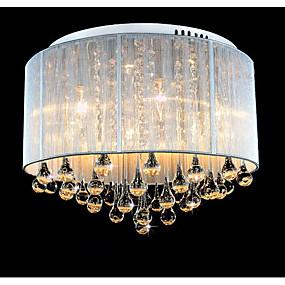 billige Taklamper-6-Light Takplafond Opplys Børstet Metall Krystall 220-240V Gul Pære Inkludert / Integrert LED