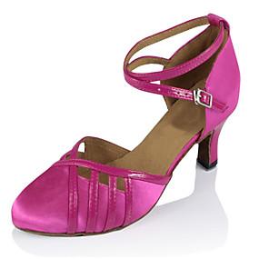billige Moderne sko-Dame Moderne sko Silke Sandaler Spenne Kubansk hæl Kan spesialtilpasses Dansesko Gull / Fuksia / Ytelse