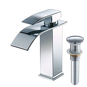 cheap Shop by Room-Bathroom Sink Faucet - Waterfall / Widespread Chrome Centerset Single Handle One HoleBath Taps / Stainless Steel
