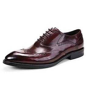 baratos Oxfords Masculinos-Homens Sapatos formais Couro / Pele Primavera / Outono Negócio Sapatos De Casamento Preto / Vinho / Marron / Festas & Noite / Festas & Noite / Bullock Shoes