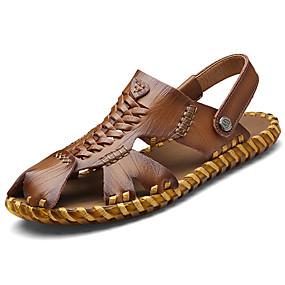 voordelige Wijdere maten schoenen-Heren Comfort schoenen Leer Zomer Sandalen Donker Bruin / Khaki / Causaal
