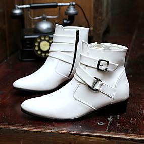 baratos Botas Masculinas-Homens Sapatos Confortáveis Couro / Tecido Outono / Inverno Botas Preto / Branco / Khaki / Atlético / Cadarço / Ao ar livre / Botas de Neve / Fashion Boots