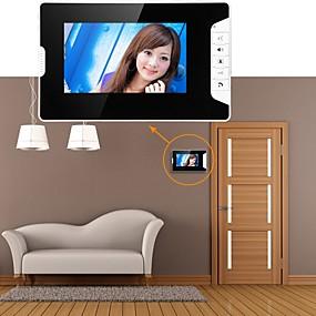 voordelige Toegangscontrolesystemen-mountainone 7 inch video deurtelefoon deurbel intercom systeem kit 1-camera 3-monitors nachtzicht