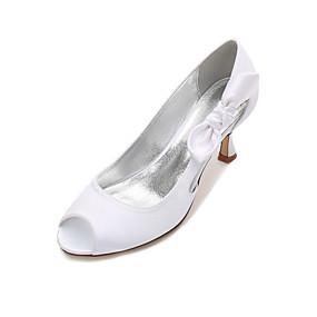 3ca835cb56b Γυναικεία Σατέν Άνοιξη / Καλοκαίρι Ανατομικό / Βασική Γόβα Γαμήλια παπούτσια  Γατίσιο Τακούνι / Χαμηλό τακούνι / Τακούνι Στιλέτο Ανοικτή Μύτη Φιόγκος /  Σατέν ...