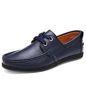 baratos Oxfords Masculinos-Homens Courino / Pele Verão / Outono Conforto Oxfords Preto / Azul Escuro / Marron