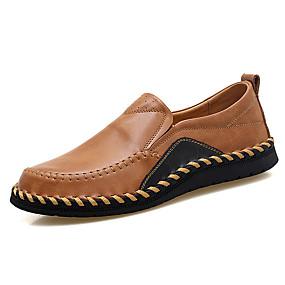 baratos Sapatilhas e Mocassins Masculinos-Homens Couro / Pele Primavera / Outono Conforto / Sapatos de mergulho Mocassins e Slip-Ons Preto / Vinho / Marron / Combinação