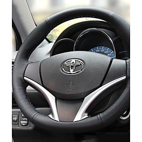 ราคาถูก โปรโมชั่นอุปกรณ์ตกแต่งรถยนต์กับฤดูร้อน-Steering Wheel Covers หนัง 38ซม. สีดำ / สีดำ / สีแดง สำหรับ Toyota RAV4 ทุกปี