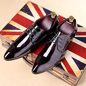 저렴한 남성 신발-남성용 구두 에나멜 가죽 가을 / 겨울 옥스포드 캐쥬얼 / 파티 / 이브닝 용 레이스-업 블랙 / 네이비 블루 / 버건디 / 옥스포드 인쇄하기 / 편안한 신발 / EU40