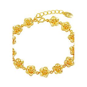 baratos Pulseiras Vintage-Mulheres Pulseiras em Correntes e Ligações Flor Florais / Botânicos Flor senhoras Luxo Chapeado Dourado Pulseira de jóias Dourado Para Casamento Presente