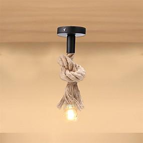abordables Plafonniers-corde de chanvre pendentif lumière 50cm tête unique industrielle vintage plafond suspendu lampe rétro style campagnard pour restaurant