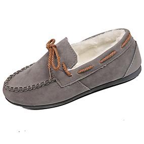 baratos Mocassins Femininos-Mulheres Sapatos de Barco Sem Salto Ponta Redonda Laço Camurça Conforto Outono Marron / Vermelho / Rosa claro