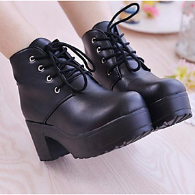 cheap Women's Boots-Women's Nappa Leather Winter Combat Boots Boots Chunky Heel Booties / Ankle Boots White / Black