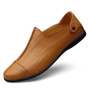 baratos Sapatilhas e Mocassins Masculinos-Homens Sapatos Confortáveis Courino / Pele Primavera / Outono Mocassins e Slip-Ons Preto / Castanho Claro / Amarelo / Combinação