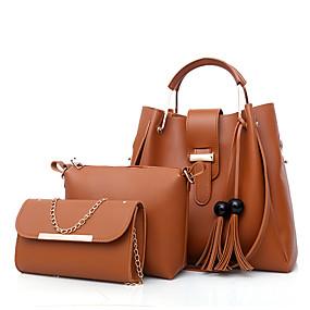 preiswerte Taschensets-Damen Taschen PU Bag Set 3 Stück Geldbörse Set Reißverschluss Rosa / Grau / Braun
