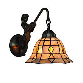 abordables Lampe Tiffany-Diamètre 20 cm rétro sirène tiffany appliques murales abat-jour de coquille salon chambre luminaire