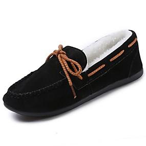 baratos Mocassins Femininos-Mulheres Sapatos de Barco Ponta Redonda Couro Ecológico Conforto / Forro de peles Inverno Cinzento / Marron / Vinho