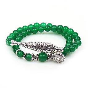 baratos Pulseiras Vintage-Mulheres Verde Jade Aventurina Pulseiras com Miçangas Enrole Pulseiras Animal senhoras Asiático Étnico Gema Pulseira de jóias Verde Para Festa Diário