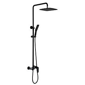 billige Rabatt Kraner-Dusjkran - matte Svart Dusjsystem Keramisk Ventil Bath Shower Mixer Taps / Messing / Enkelt håndtak To Huller