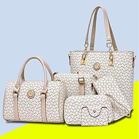 preiswerte Taschensets-Damen Taschen PU Bag Set 5 Stück Geldbörse Set Muster / Druck Purpur / Kaffee / Himmelblau