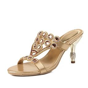 voordelige Wijdere maten schoenen-Dames Sandalen Open teen  Strass / Kristal / Sprankelend glitter Kunstleer Modieuze laarzen Lente / Zomer Zwart / Paars / Blauw / Feesten & Uitgaan / Gesp / Feesten & Uitgaan