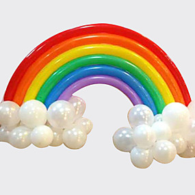 cheap Holiday Party Decorations-Rainbow Balloon Set Birthday Party Wedding Deco (20 Long Balloon 16 Round Balloon)
