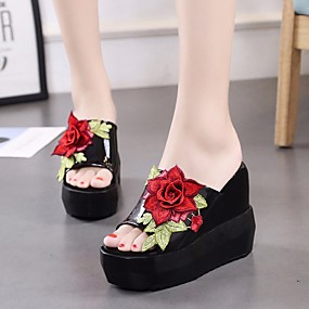 e1221aa9f9fed Women s Denim Summer Comfort Slippers   Flip-Flops Platform Open Toe White    Black