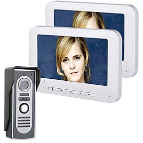 billige Videodørtelefon-mountainone 7 tommers tft 2 skjermer video dør telefon dørklokke intercom kit 1-kamera 2-skjerm nattesyn med hd 700tvl kamera