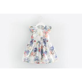 e13d1b29f45 Νήπιο Κοριτσίστικα Ενεργό Καθημερινά / Εξόδου Φλοράλ Κοντομάνικο Βαμβάκι /  Πολυεστέρας Φόρεμα Λευκό / Χαριτωμένο