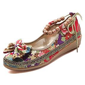 povoljno Ženske ravne cipele-Žene Ravne cipele Ravna potpetica Guma Udobne cipele Proljeće / Jesen Crn / Crvena / EU39