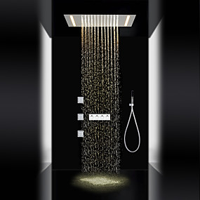 cheap Shower Faucets-Shower Faucet - Contemporary / LED Chrome Shower System Ceramic Valve / Brass / Three Handles Five Holes
