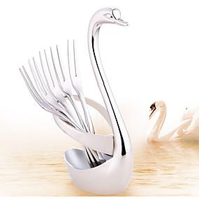 ieftine Veselă-lebada de fructe furculiță lingura cuțit de bază titularul oțel inoxidabil decor de nunta