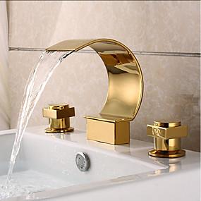 billige Ugentlige tilbud-Baderom Sink Tappekran - Foss Ti-PVD Udspredt To Håndtak tre hullBath Taps / Messing