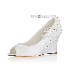 cheap Women's Wedges-Women's Wedding Shoes Wedge Heel Peep Toe Crystal / Pearl / Buckle Elastic Fabric Basic Pump Spring / Summer Ivory / Party & Evening