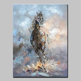 levne Abstraktní malby-Hang-malované olejomalba Ručně malované - Zvířata Moderní Obsahovat vnitřní rám / Reprodukce plátna