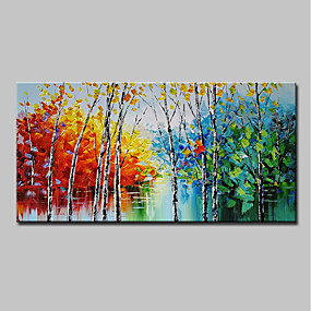 cheap Others-Oil Painting Hand Painted - Abstract Landscape Modern Stretched Canvas
