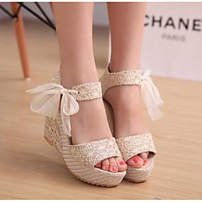 cheap Wedge Sandals-Women's Wedge Heels Fabric Spring / Summer Comfort Sandals Wedge Heel Gold / Black / Silver