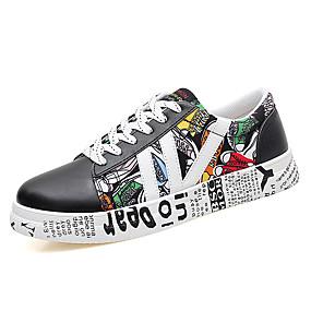 voordelige Wijdere maten schoenen-Dames Comfort schoenen Varkensleer Winter Informeel Sneakers Platte hak Ronde Teen Wit / Zwart / Kleurenblok