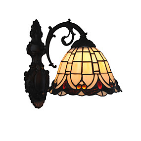 billige Tiffany Lamper-diameter 20cm retro land havfrue tiffany vegg lys glass skygge stue soverom lysarmatur