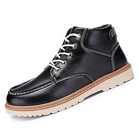 baratos Botas Masculinas-Homens Sapatos Confortáveis Couro Ecológico Primavera / Outono Botas Botas Cano Médio Preto / Azul / Marron / Fashion Boots / EU42